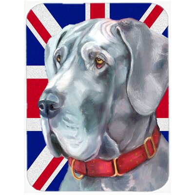Union Jack Great Dane with English British Flag Glass Cutting Board