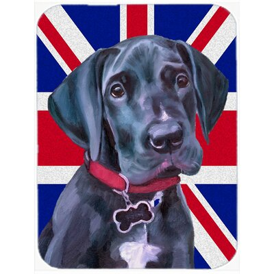 Union Jack Great Dane Puppy with English British Flag Glass Cutting Board