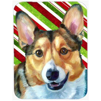 Corgi Candy Cane Holiday Christmas Glass Cutting Board