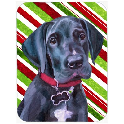 Great Dane Puppy Candy Cane Holiday Christmas Glass Cutting Board