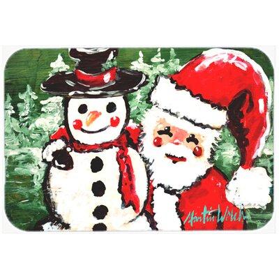 Friends Snowman and Santa Claus Glass Cutting Board