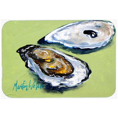 Oysters Two Shells Glass Cutting Board