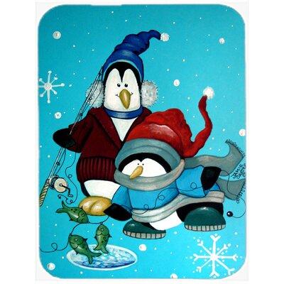 Somethin's Fishy Christmas Penguin Glass Cutting Board