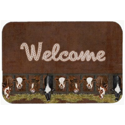 Welcome Mat with Cows Glass Cutting Board
