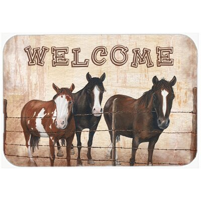 Welcome Mat with Horses Glass Cutting Board
