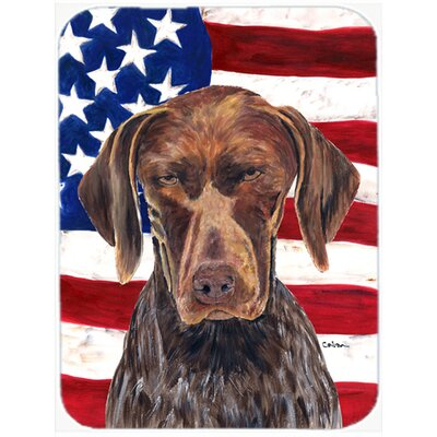 Patriotic USA American Flag with German Shorthaired Pointer Glass Cutting Board