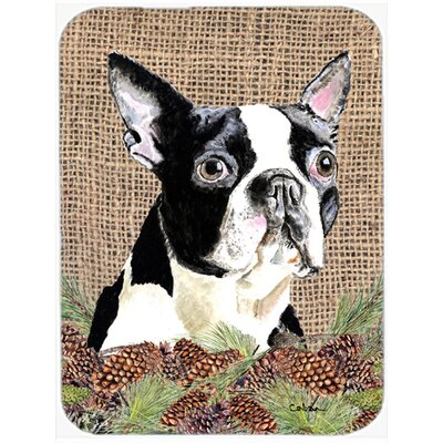 Boston Terrier Brown Glass Cutting Board