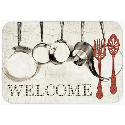 Pots and Pans Welcome Glass Cutting Board