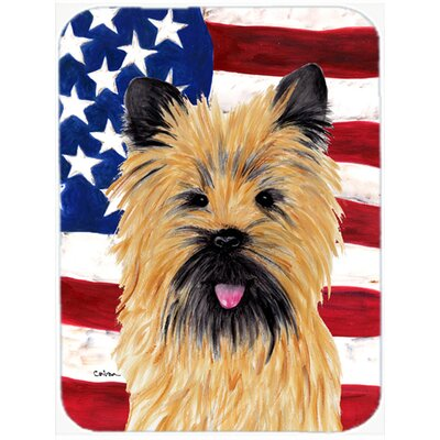 Patriotic USA American Flag with Cairn Terrier Glass Cutting Board