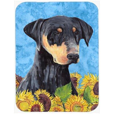 Doberman and Sunflower Glass Cutting Board