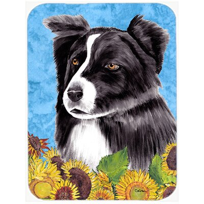 Border Collie and Sunflower Glass Cutting Board