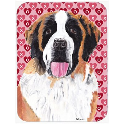 Valentine Hearts Saint Bernard Hearts Love and Valentine's Day Glass Cutting Board