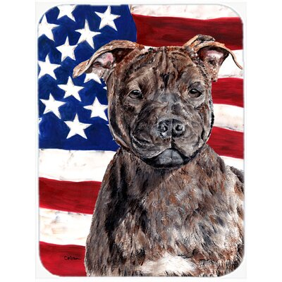 Patriotic Staffordshire Bull Terrier Staffie with American Flag USA Glass Cutting Board