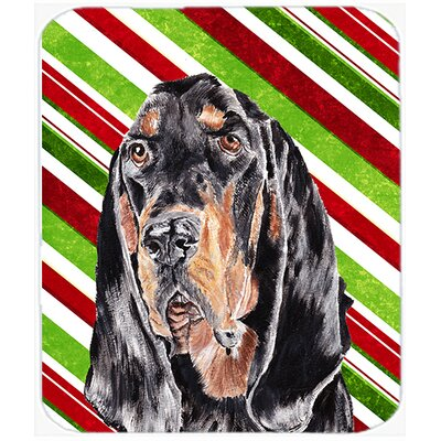 Coonhound Candy Cane Christmas Glass Cutting Board