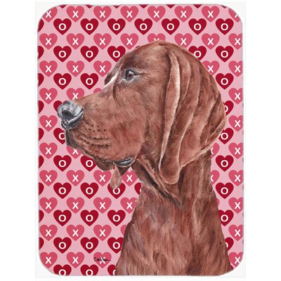 Redbone Coonhound Hearts and Love Glass Cutting Board