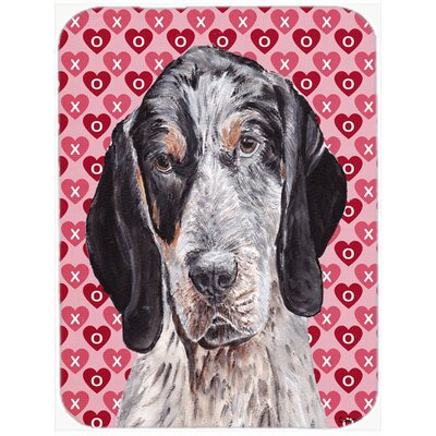 Bluetick Coonhound Hearts and Love Glass Cutting Board