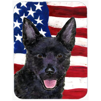 Patriotic USA American Flag with Australian Kelpie Glass Cutting Board