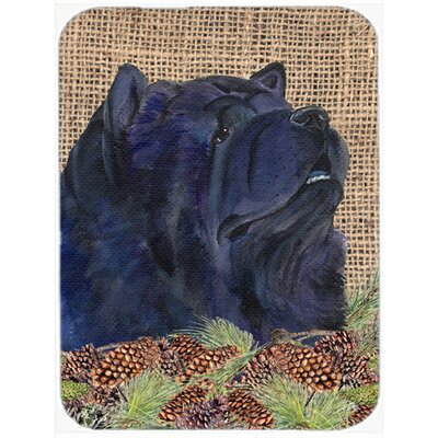 Black Chow Chow and Pine Cone Glass Cutting Board