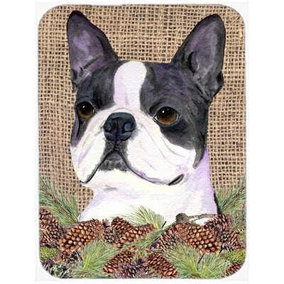 Boston Terrier and Pine Cone Glass Cutting Board