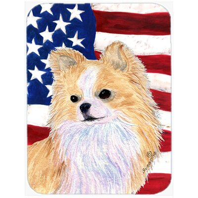 Patriotic USA American Flag with Chihuahua Glass Cutting Board