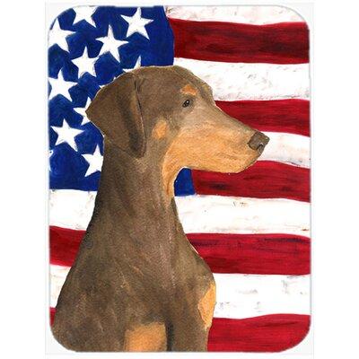 Patriotic USA American Flag with Doberman Glass Cutting Board