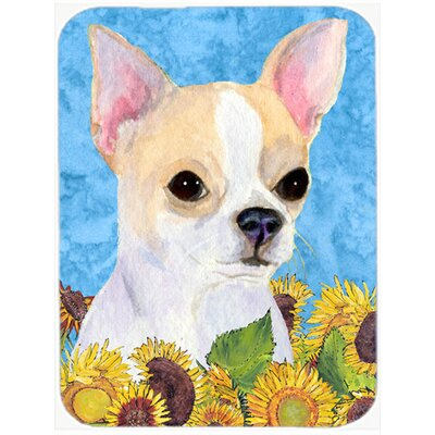 Chihuahua and Sunflowers Glass Cutting Board