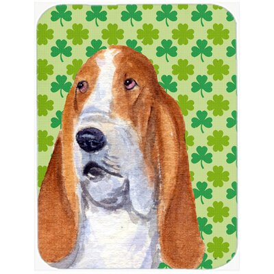Shamrock Lucky Irish Basset Hound St. Patrick's Day Portrait Glass Cutting Board