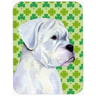 Shamrock Lucky Irish Boxer St. Patrick's Day Portrait Glass Cutting Board