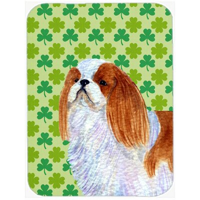 Shamrock Lucky Irish English Toy Spaniel St. Patrick's Day Glass Cutting Board