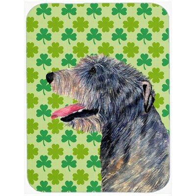 Shamrock Lucky Irish Wolfhound St. Patrick's Day Portrait Glass Cutting Board