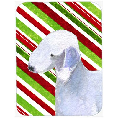 Bedlington Terrier Candy Cane Holiday Christmas Glass Cutting Board