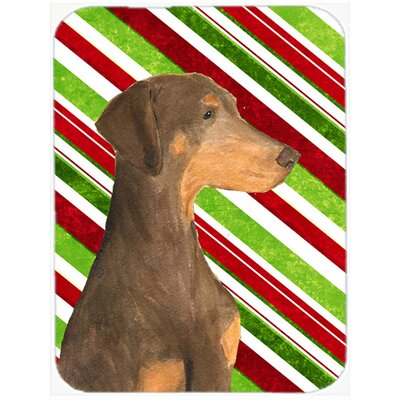Doberman Candy Cane Holiday Christmas Tempered Glass Cutting Board