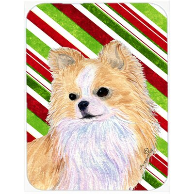Chihuahua Candy Cane Holiday Christmas Rectangle Glass Cutting Board