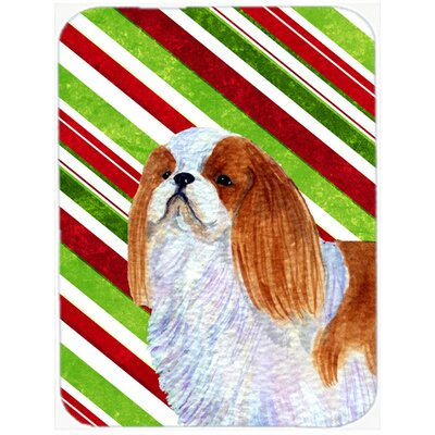 English Toy Spaniel Candy Cane Holiday Christmas Glass Cutting Board