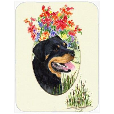 Rottweiler and Flower Glass Cutting Board
