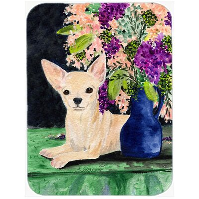 Chihuahua and Flowers Glass Cutting Board