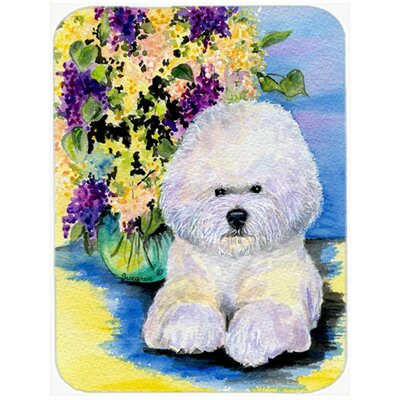 Bichon Frise and Flowers Glass Cutting Board