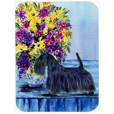 Scottish Terrier and Flower Glass Cutting Board