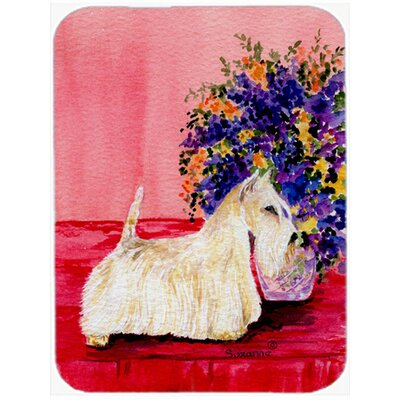White Scottish Terrier and Flower Glass Cutting Board