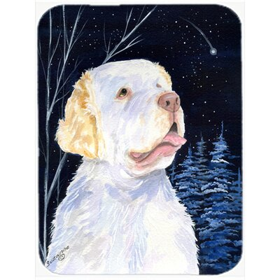 Starry Night Clumber Spaniel Glass Cutting Board
