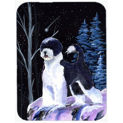 Starry Night Portuguese Water Dog Glass Cutting Board