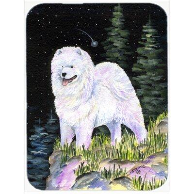 Starry Night Samoyed Glass Cutting Board