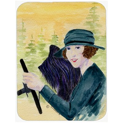 Lady Driving with Her Briard Glass Cutting Board