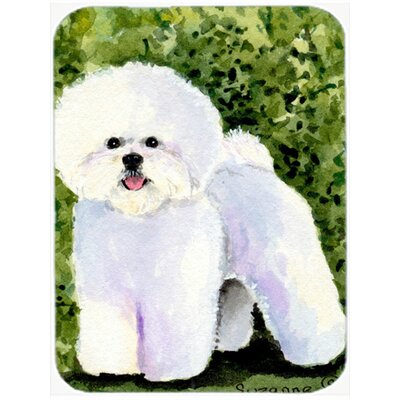 White Bichon Frise on Green Glass Cutting Board