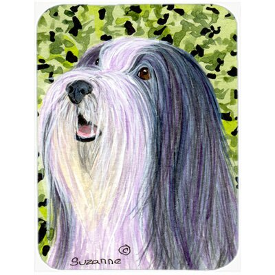 Black and White Bearded Collie and Green Glass Cutting Board
