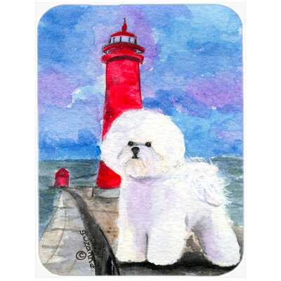 Bichon Frise Lighthouse Glass Cutting Board