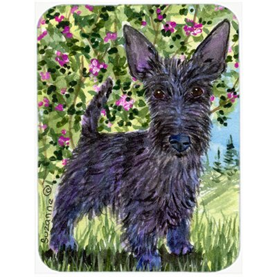 Scottish Terrier and Flowers Glass Cutting Board