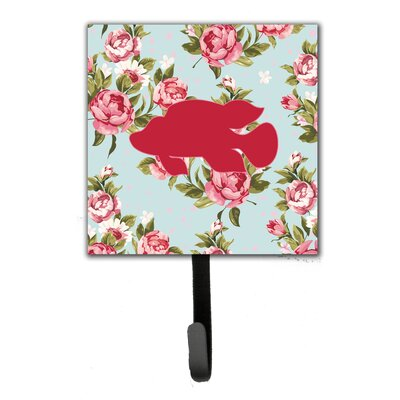 Tropical Fish Shabby Elegance Roses Leash Holder and Wall Hook