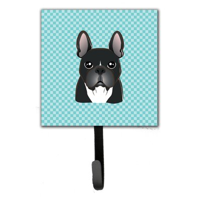 Checkerboard French Bulldog Leash Holder and Wall Hook