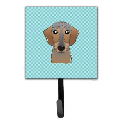 Checkerboard Wirehai Dachshund Leash Holder and Wall Hook